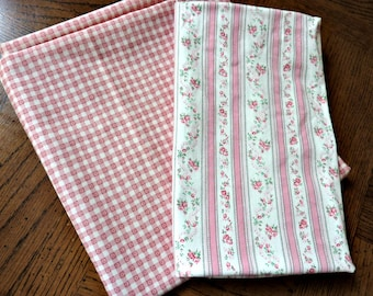 Pink Pillow Ticking, Pink Check Heart Quilting Fabric 1980s Craft Fabric Cottage Chic Decor
