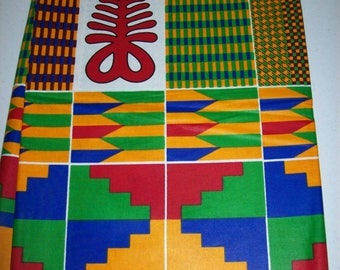 Aya Adinkra Symbol Kente fabric by the yard/ Multicolor Adinkra Kente/ Kente print fabric