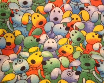 Puppies in Flannel Print Fabric