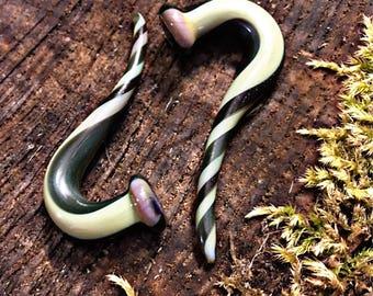 Matcha Mocha Swirl Talons snug 2g gauged ear plugs earrings talons for stretched piercings