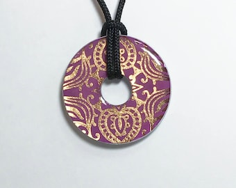 Metal Washer Necklace, Purple and Gold Foil Necklace, Purple and Gold Metal Washer Necklace, Purple and Gold Pendant