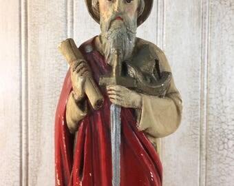 Vintage St. Paul Religious Plaster Figurine