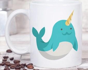 Narwhal Mug - Narwhal Gift - Narwhal Coffee Cup - Silly Mug - Cute Mug - Fun Coffee Mug - Best Friend Gift for Her - Christmas Gift for Her
