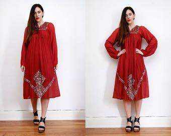 Vintage Indian Cotton Batik Hippie Balloon Sleeve Sequin Boho Maxi Dress 70's