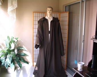 Star Wars Jedi Knight Wool Costume Robe Dark Brown Hooded Handmade  Sz. M/L