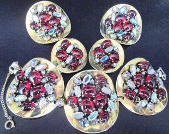 SCHIAPARELLI Amazing Red Cabochon Rhinestone Bracelet Earrings 2 Pins Set