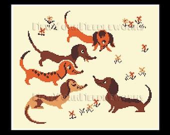 5 Dachshunds Cross Stitch, Vintage Dachshund Pattern, Cross Stitch, Needlepoint, Dogs Pattern, Dachshunds, Dog by NewYorkNeedleworks on Etsy