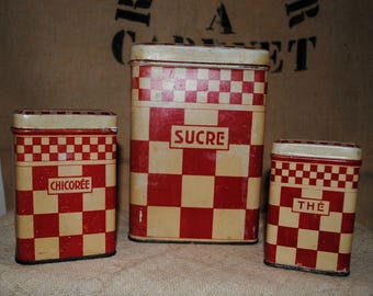 Antique French Tole Kitchen CANISTERS LUSTUCRU red checks 3 pieces