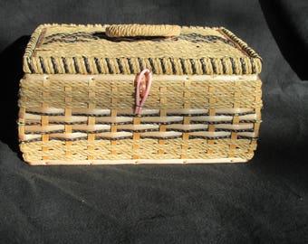 B1 - Vintage Pink Black Wicker Sewing Basket Japan Mid Century