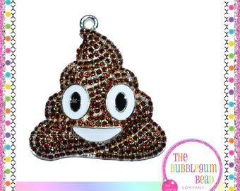 40mm BROWN POOP RHINESTONE Emoji Bubblegum Necklace Pendant, Gumball Necklace Pendant, Chunky Necklace Pendant, The Bubblegum Bead Co.