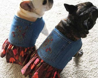 French Bulldog Upcycled Embroidered Blue Jean  and Autumn Leaves Dress
