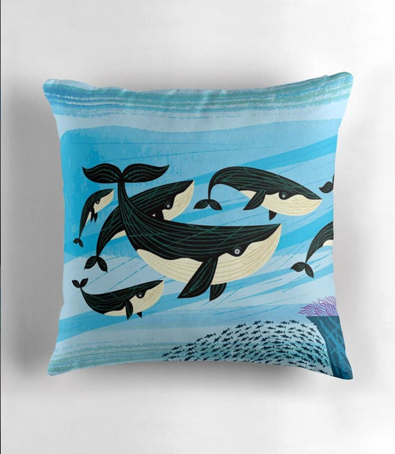 "Whale Swim - Throw Pillow / Cushion Cover (16"" x 16"") by Oliver Lake / iOTA iLLUSTRATION"