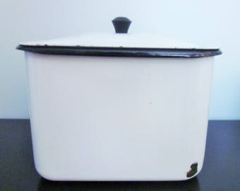 Farmhouse Enamelware Box with Lid, White and Black with Knob, Rustic, Mid Century, Vintage