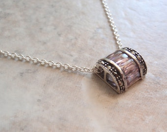 Pink CZ Necklace Slide Baguettes Marcasites Hearts Vintage CW0193