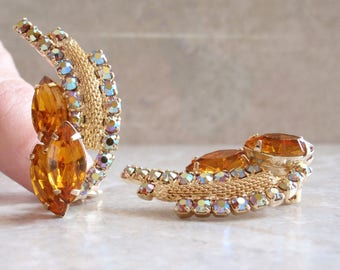 Topaz Rhinestone Earrings Gold Clips Prong Set Mesh Navettes AB Vintage E0090
