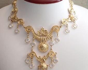 Gold Bib Choker Necklace Earring Set Bezel Set Crystals Vintage V0924