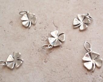 Shamrock Four Leaf Clover Charm Pendant Sterling Silver