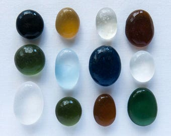 English Sea glass - Ovals&Rounds - Lot -  DC1081