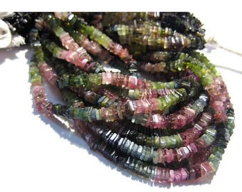 ON SALE 55% Tourmaline - 14 Inches Strand - Finest Quality Tourmaline Square Heishi Beads Size 4 mm approx, Natural stone Wholesale Price