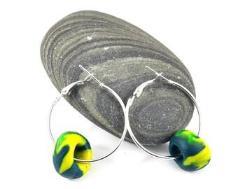 Green Yellow Marbled Hoop Earrings - Polymer Clay Jewellery - Handmade Minimalist Earrings on Etsy by DeeDeeDeesigns