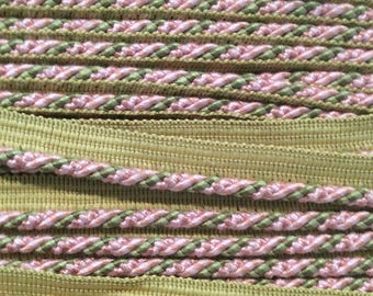 Cord with lip 3/8s stage green taupe pink