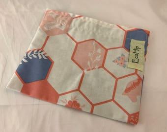 Reusable Snack Bag - Reusable Baggie - Red Snack Bag - Fabric Snack Bag - Reusable Fabric Snack Bag -  Blue Interplay in Calm Mosiac