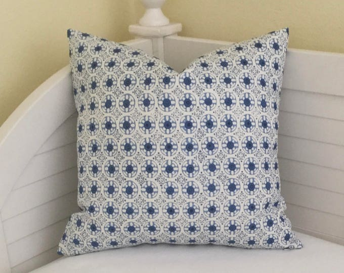 Quadrille China Seas Kediri in Blues Designer Pillow Cover  - Square, Lumbar and Euro Sizes