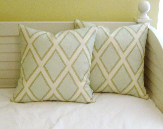 Kravet Brookhaven in Celadon Green Geometric Linen Designer Pillow Cover - Square, Euro, Lumbar and Body Pillow Sizes