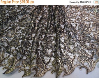 ON SALE Black with Gold Allover Guipure Lace Fabric--One Yard