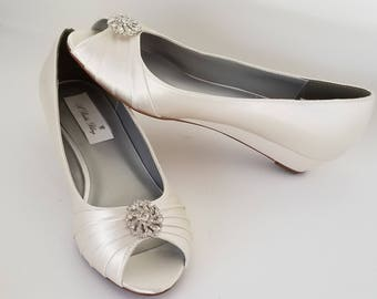Ivory Wedding Shoes with Crystal Swirl Design Ivory Bridal Wedges Ivory Wedding Wedges - 100 Colors Ivory Bridal Shoes Bridesmaid Shoes