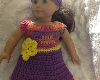 Yellow purple multi color 18 inch crochet Dress for American girl bitty baby reborn or next generation doll sizes