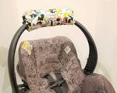 Infant Car Seat Handle Cushion ARM PAD - MONOGRAM Available- Handle Cover Wrap, Reversible - Newspaper Style