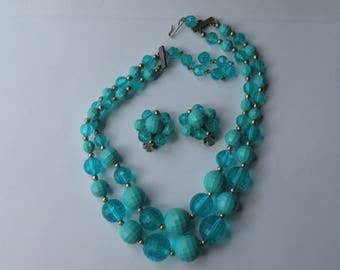 Blue Turquoise faceted plastic beads double strand necklace & clip-on earrings. Set.