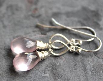 Teardrop Rose Quartz Earrings Sterling Silver Petite Pink Drop Gemstone Earrings