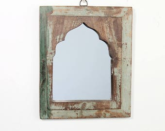 Moroccan Mirror Vintage Wood Framed Mirror Reclaimed Wood Wall Art Moss Green Mirror Moroccan Decor Turkish