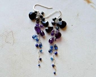 Blue Purple Gemstone Dangle, Dark Ombre Dangle Earrings, Long Galaxy Earrings:  Ready to Ship