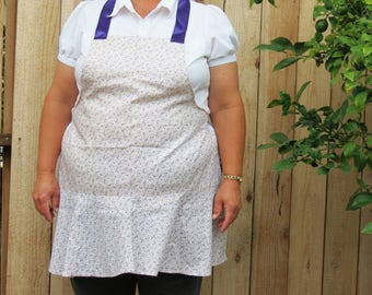 Full Apron with Flirty Skirt:  Ivory Calico with Dainty Purple Flowers
