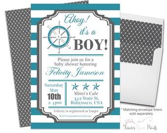 Nautical Baby Shower Invitation - Nautical Baby Shower Invite - Boys Nautical Shower - Baby Boy Shower - Ahoy It's a Boy - Nautical Invite