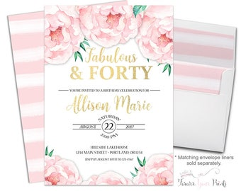 Floral 40th Birthday Party Invitation - Floral 40th Birthday Invitation - 40th Birthday Invite - Woman's Birthday Invite - 40 and Fabulous