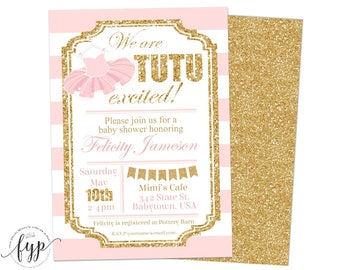 Tutu Baby Shower Invitations, Girls Baby Shower Invitations, Ballerina Baby Shower Invitations, Glitter Baby Shower Invite, Tutu Invite