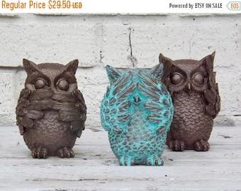 ON SALE Hear no Evil,See No Evil,Speak No Evil,Owl Statue Trio,Whimsical,Nursery,Owl Decor,Owl Figurine,Bronze,Patina