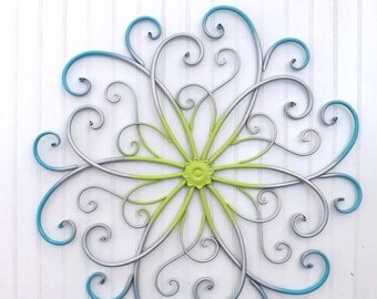 ON SALE Large Metal Wall Art / Bedroom Wall Decor / Turquoise / Silver / Lime / Metal Wall Decor
