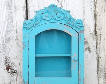 ON SALE Rustic Turquoise~French Cottage~Shabby Chic Wood Cabinet with Shelf~ Bathroom Shelf~Shabby Chic~Rustic Cabinet