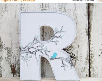 ON SALE Stand Alone Letter~Shabby Chic Letter~Bird~Bird on a Limb~Shelf Decor~Monogram~Initial~Rustic Letter