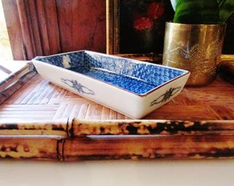 Fitz and Floyd Blue and White Imari Style Trinket Tray, Japanese Porcelain, Desk Tray, Chinoiserie, Coffee Table Decor, The Gilded Tassel
