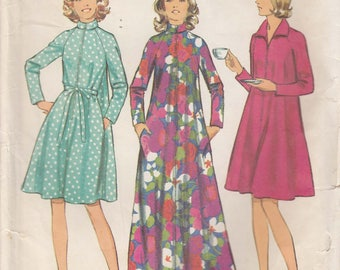 Robe Pattern Front Zipper Long Short Vintage Misses Size 12 - 14 Medium Uncut 1972 Simplicity 5314