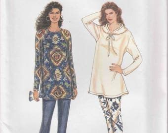 Easy Tunic Pattern Stretch Pants Shirt with Hood Misses Size XS - S - M - L - XL uncut Simplicity 9260