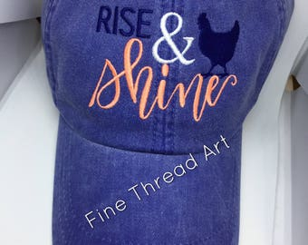 LADIES Chicken Hen Rise and Shine with Side Monogram Baseball Cap Hat LEATHER strap Pigment Dyed