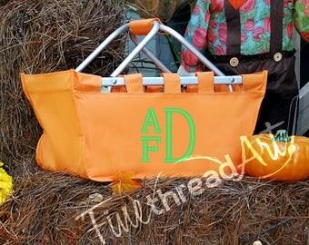 MINI Market Tote in Orange Halloween Bucket with Monogram or Name Trick or Treat Organization