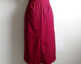 Vintage 1970s Skirt Dark Raspberry Wool Pleat 70s Straight Skirt 10